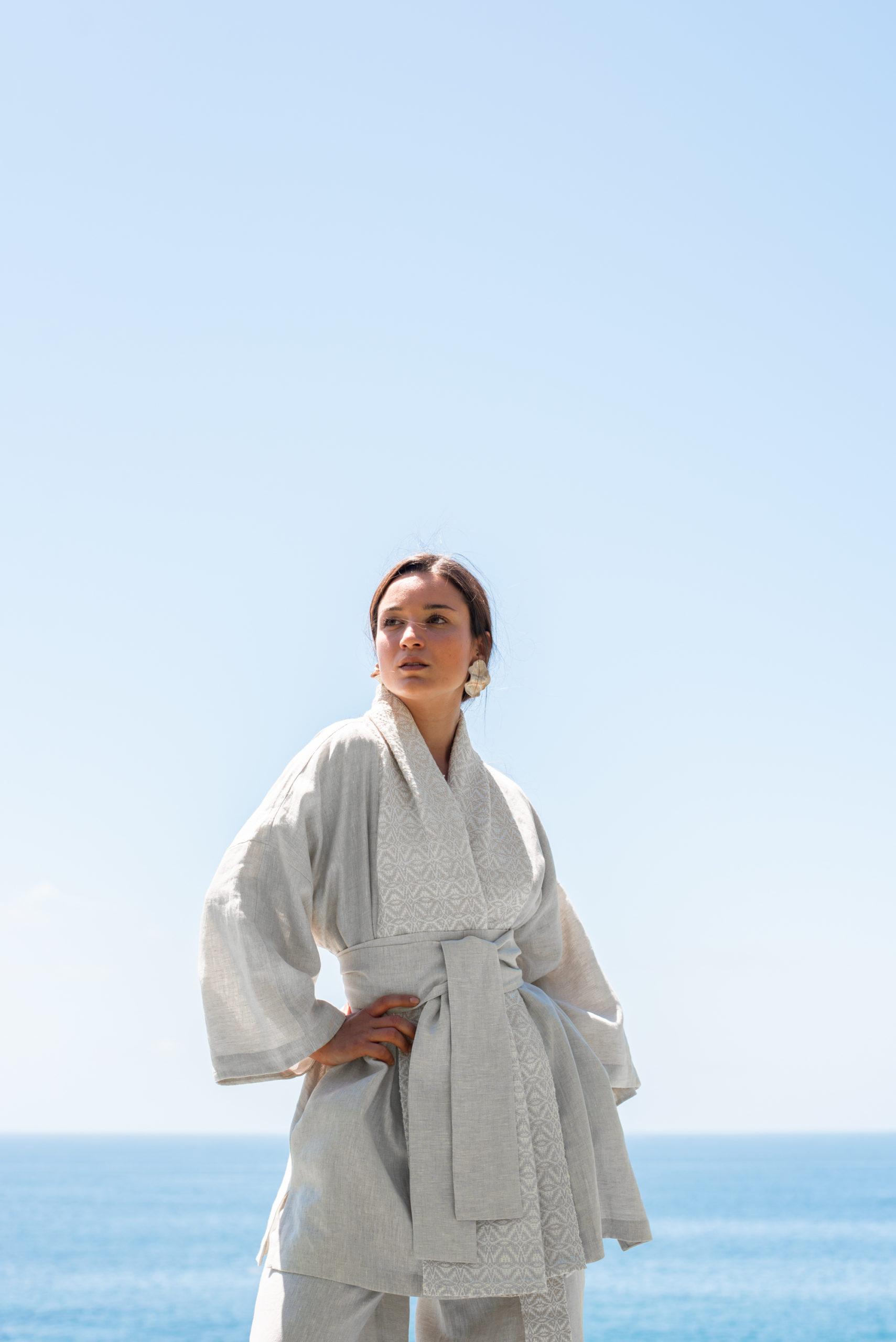 Minimalist and Timeless Sustainable Kimono Model